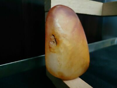 """mineral precious """"painted rock"""" Chinese nephrite white JADE specimen 71 grams"""