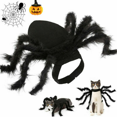 Halloween Pet Black Spider Cos Costume Dog Cat Fancy Party Dress Up Clothes UK