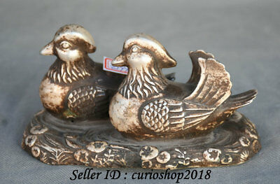 15CM Old Chinese Silver Dynasty 2 Mandarin Duck Bird Love Statue Sculpture