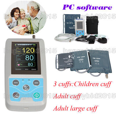 Ambulatory Blood Pressure Monitor 24 Hours+ Sofware alarm,analysis,+3 Cuffs