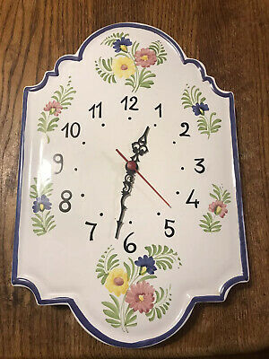 Ceramic Porcelain Made In Italy Wall Clock Flower Design Hand Painted