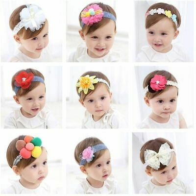 1pc Flower Headband Newborn Baby Girl Toddler Lace Flower Elastic HairBand