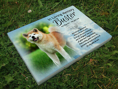 Personalised grave headstone memorial plaque pet dog Akita or any breed