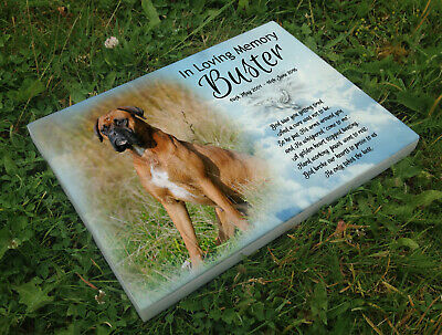 Personalised grave headstone memorial plaque pet dog Boxer Dog or any breed