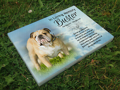 Personalised grave headstone memorial plaque pet dog BullDog or any breed
