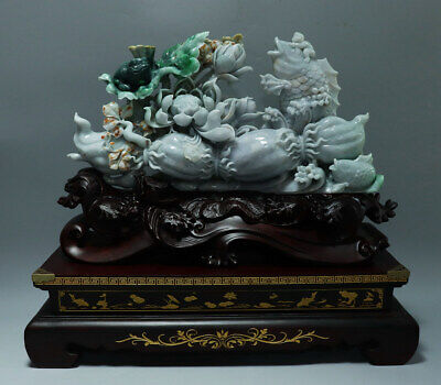 Chinese Hand-carved lotus carp toad Carving natural jadeite jade statue