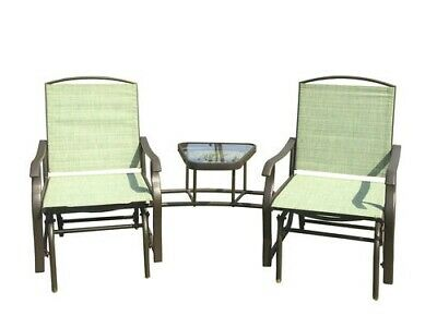 Incredible Patio Double Glider Chairs Garden Bench With Center Table Short Links Chair Design For Home Short Linksinfo