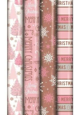 4 Rolls Of 5M Rose Gold Blush Pink Modern Christmas Gift Wrapping Paper