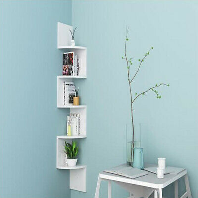 2/3/5 Tier Floating Wall Shelves Shelf Storage Display Bookcase White Black