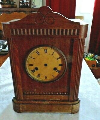 Empty Antique Oak Mantel Clock Case, Spares/Repair