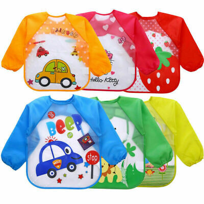 Baby Kid Feeding Bib Waterproof Long Sleeve Plastic Coverall Smock Apron Cartoon