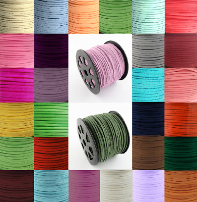 Suede Faux Leather Cord 3mm x 1.5mm Flat for Jewellery Making