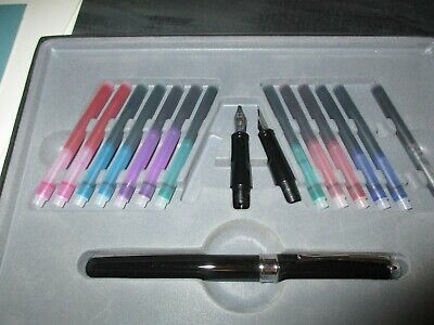 Calligraphy Fountain Pen Gift Set with 14 colored inks, 3 nibs in box