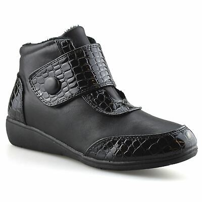 Ladies Womens New Mid Wedge Heel Warm Fur Lined Winter Ankle Boots Shoes Size