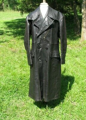 1930s  - WW2 German black leather coat  sz 40 Medium