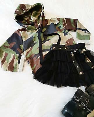 AU Kids Baby Girls Clothes Camo Hooded Long Sleeve Top T-shirt Tutu Skirt Outfit