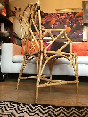 Vintage Chinese Chipoendale Pair Of Chairs In Bamboos And Cane