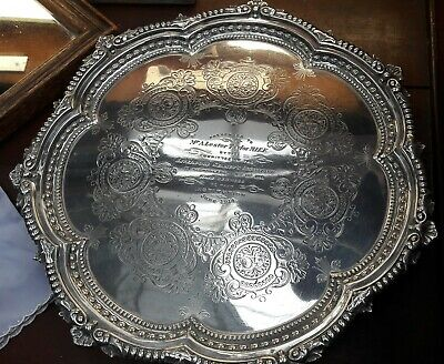 Antique Solid Sterling Silver Salver/ Tray