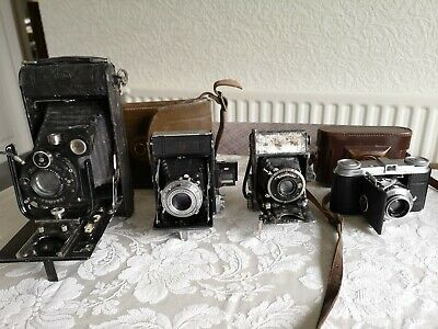 4 Antique Vintage Folding Bellows Cameras Voigtlander Zeiss Ikon