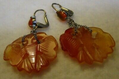Vintage Chinese Earrings, Antique Carved Carnelian Moths; Sterling w Cabochons