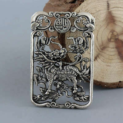 Collect Old Miao Silver Hand-Carved Myth Animal Unicorn Moral Auspicious Pendant