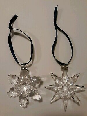 Swarovski Large Annual Edition Christmas Ornament 2008 & 2009 Set No Boxes