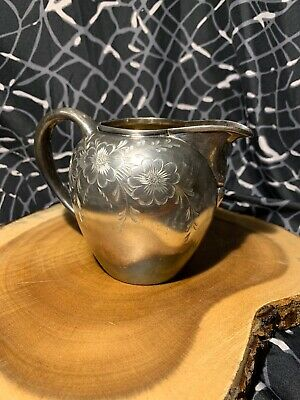 James W Tufts Quadruple Plate Small Silver Pitcher / Creamer- Beautifully Etched