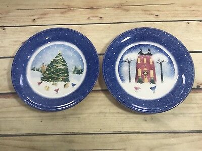 Nikko Winter Wonderland Set 2 Christmas Salad Dessert Plates Dishes Holiday Wear