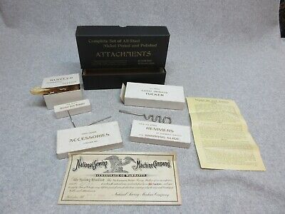 1906 ELDREDGE ROTARY Treadle SEWING MACHINE ATTACHMENTS SeT in boxes with Papers