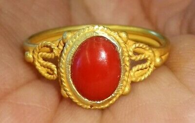 Antique Rare unique natural coral 22k gold wonderful Ring #27