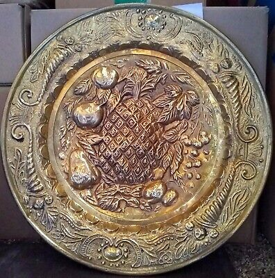 "Vintage Peerage Embossed Brass Wall Plate 14 1/2""  Made in England Fruit"