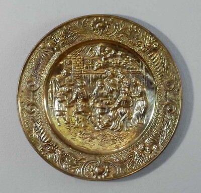 "Vintage Peerage Embossed Brass Wall Plate 14 1/2""  Made in England Tavern Scene"