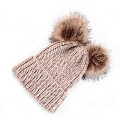Childrens Girls Boys Winter Beanie Bobble Hat Warm Pom Pom One Size