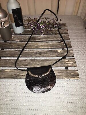 Brighton Black Croc Embossed Leather Mini Crossbody Purse 5 X 6 New Without Tags