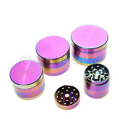 UK Spice Herb Tobacco 4 Layer Zinc Alloy Crusher Grinder Magic Rainbow 4 Size