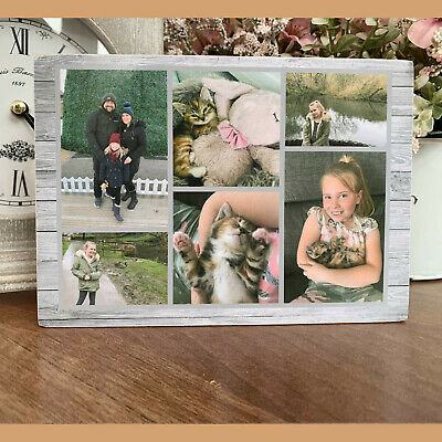 "Personalised Collage Photo Block Wooden 6x4"" or 7x5"" Picture Frame Any Images"