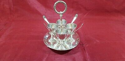An Antique Victorian Silver Plated 4 Egg Cup Set By Walker And Hall.sheffield.