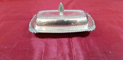 A  Antique Silver Plated Butter Dish with elegant patterns by psl of shedfield.
