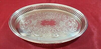 A Very Elegant Vintage Silver Plated Gallery Tray with engraved Patterns.