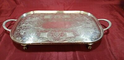 A Vintage Silver Plated Chased Gallery Tray With Respoused Patterns.clawed legs.