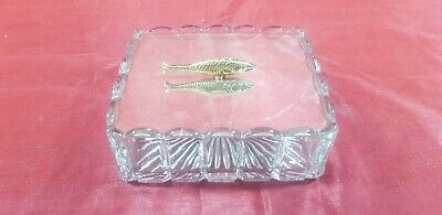 A Very Elegant Silver Plated/cut Glass Sardine Dish With Fish Handle.ornate.
