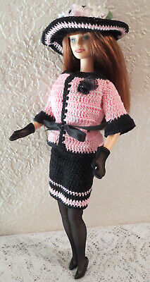 OOAK 4 STANDARD BARBIE ~ CROCHET PINK & BLACK SKIRT SUIT ENSEMBLE w/HAT GLOVES++