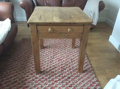 Small Victorian Pine Kitchen / Dining Table With Drawer
