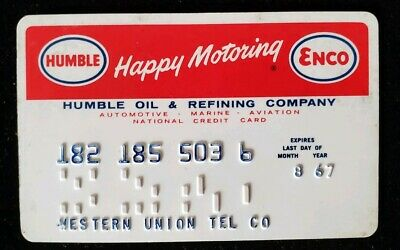 Humble Oil & Refining Co. Credit Card Exp 1967♡Free Shipping♡cc203♡Western Union