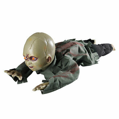 Scary Animated Crawling Baby Halloween Prop Zombie Ghost Baby Doll Haunted Decor