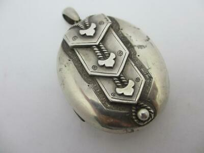 Sterling Silver Double Pendant Locket Antique English Chester Victorian tbj08710