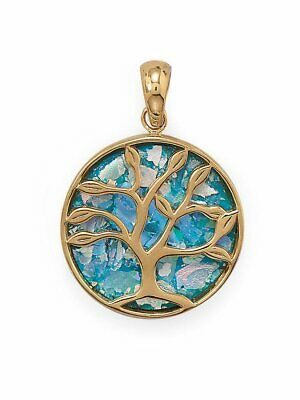 Ancient Roman Glass Tree of Life Pendant 14k Gold on Sterling Silver