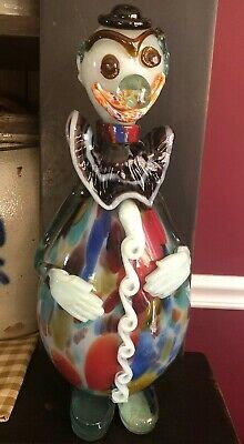 "Vintage 12.5"" Murano Multi-color Blown Glass Clown Decanter Purple Slap Collar"