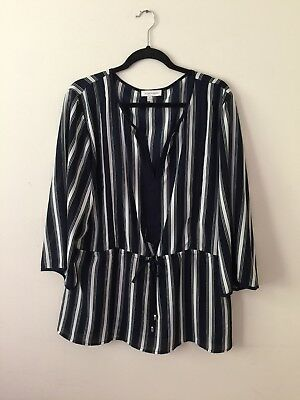 Ellen Weaver Women's Blouse Blue White Striped Drawstring 3/4 Sleeve Top 2X EUC