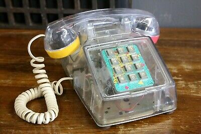 VTG 80s Cortelco Transparent Clear Colorful Touch Tone Desk Telephone Working